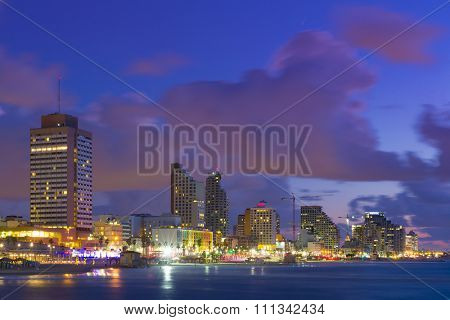 Tel Aviv Cityscape At Sunset - View From Sea To Beachfront