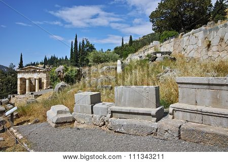 Panoramic view of Ancient Greek archaeological site of Delphi