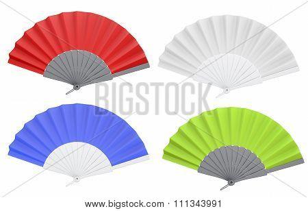 Set Of Different Colors Open Hand Fan. 3D.