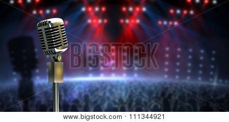 Digitally generated retro microphone on stand against digitally generated nightclub under lights