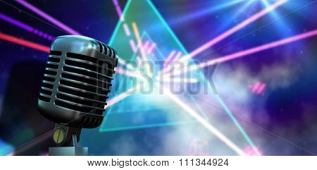 Digitally generated retro chrome microphone against digitally generated laser lights background