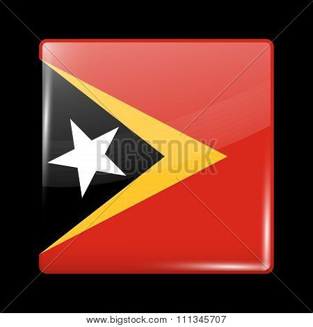 Flag Of East Timor. Glassy Icon Square Shape