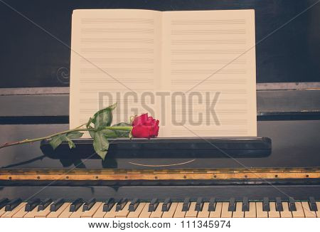 open empty notes paper with red rose