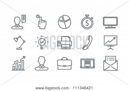 Icons of office. Line art. Stock vector.
