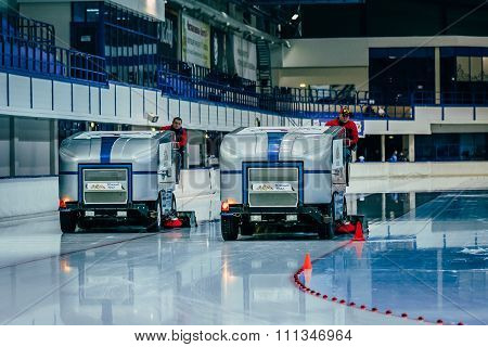 break during competition. work two ice resurfacing machines for ice rink