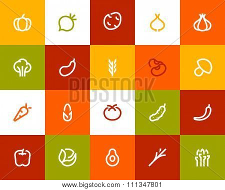 Vegetables icons. Flat series
