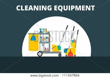Flat vector trolley with accessories for cleaning company. Detergents, gloves, a bucket,  sign of we