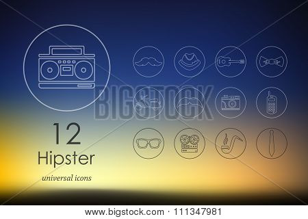 Set of hipster icons