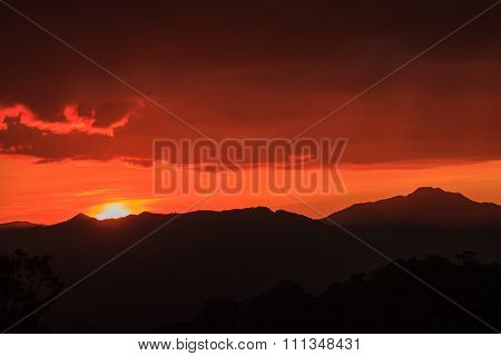 Silhouetted Mountians Abstract