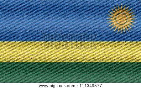 Flags Rwanda On Denim Texture.