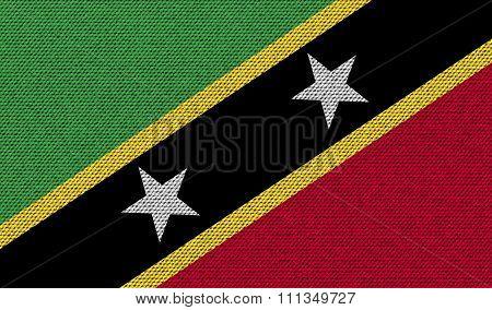 Flags Saint Kitts Nevis On Denim Texture.