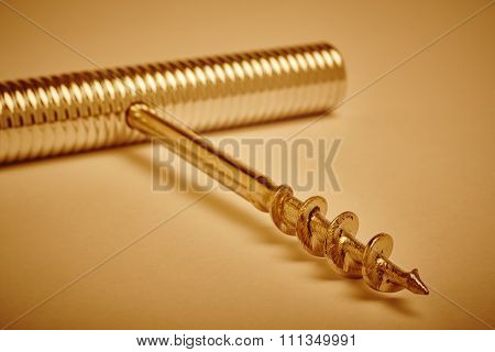 Metallic Corkscrew Detail In Warm Tone. Vignetting