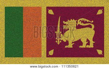 Flags Sri Lanka On Denim Texture.
