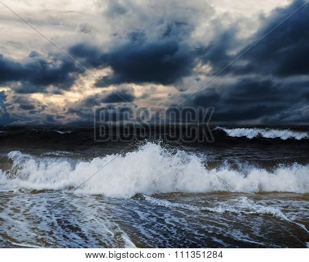 Sea And Beach With Sky Storm Cloud