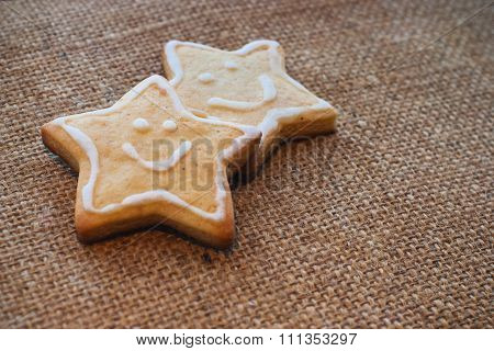 Two Christmas Cookies On The Flax Texture #2