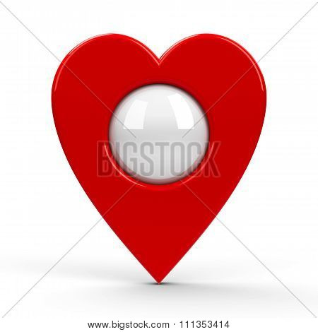 Red Heart Map Pointer Blank