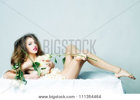 Naked Woman With Rose