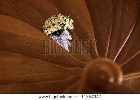 Elegant Roses Bouquet On Stair