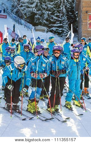 Young Skiers At Opening New Ski Season 2015-2016 In Bansko, Bulgaria