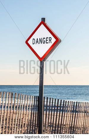 Danger sign at Buckroe Beach in Hampton, Virginia