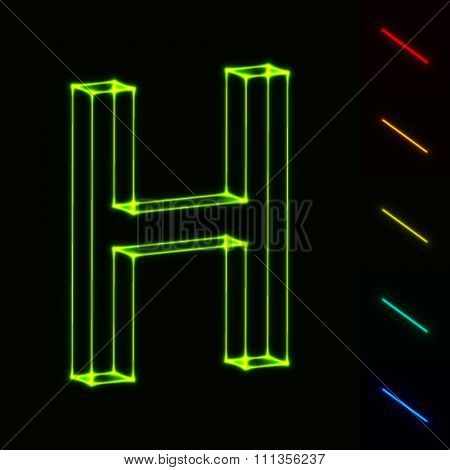 EPS10 vector glowing wireframe letter H - easy to change color