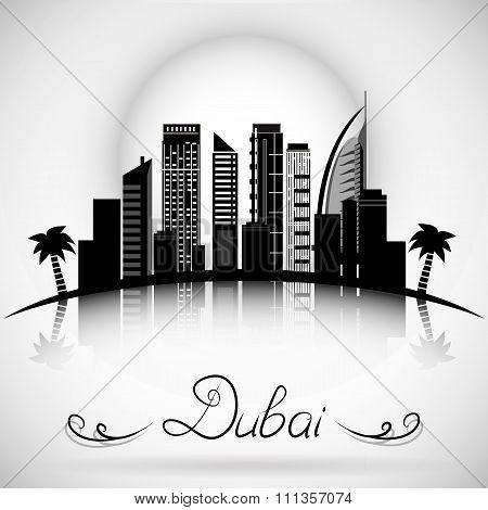 Dubai City skyline with reflection. Typographic Design