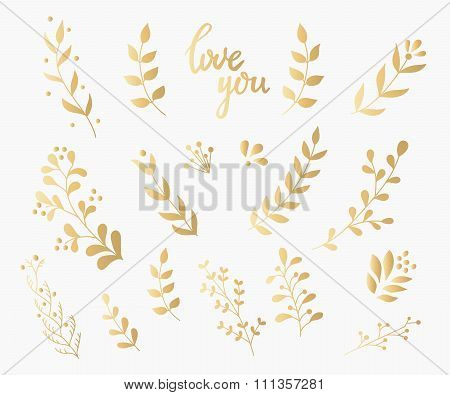 Flourish Ornate Decoration Gold Ink Calligraphy