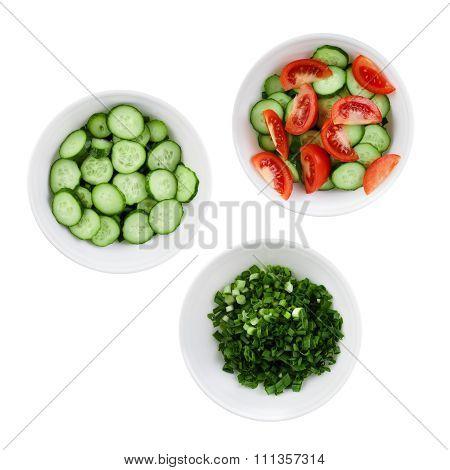 Three Plates Of Salad