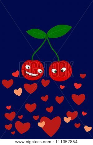 Cute smiling cherries with the message together forever. I love you.