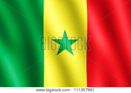 Flag Of Senegal Waving In The Wind