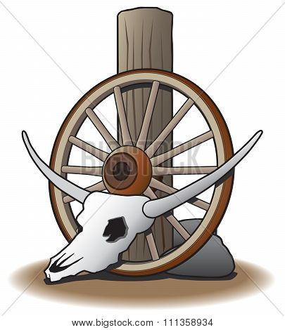 Steer Skull and Wagon Wheel