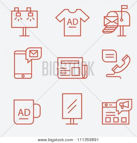 Advertisement and promotion icons, thin line flat design