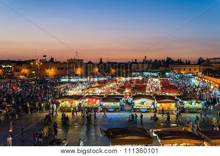 Marrakech, Morocco - Circa September 2015 - Sunrise Over Marrakechs Central Place Djemaa El Fna
