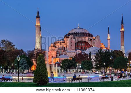 Hagia Sophia at sunset, Istanbul,Turkey
