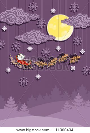 Christmas card with Santa Claus in his sledge over the night winter forest