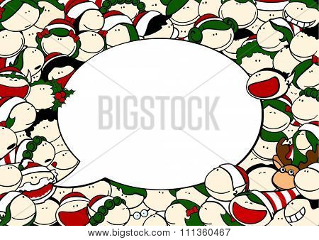 Christmas card with Santa Claus, fairies, reindeer and speech bubble window for your text