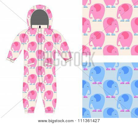 Jumpsuit Child Structure From Cute Elephant In Shoes. Set Of Seamless Pattern Of Sad Pink Elephant.