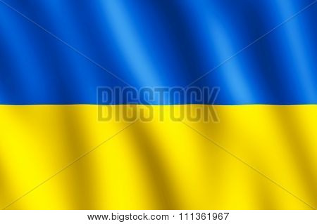 Flag Of Ukraine Waving In The Wind
