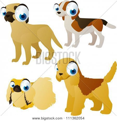 vector cartoon,comic colorful funny cool dog breeds collection: beagle, terrier, mastif pekingese