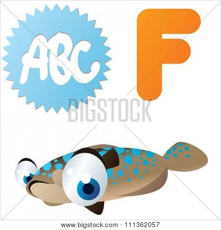 vector comic cute abc animals: F is for Flounder