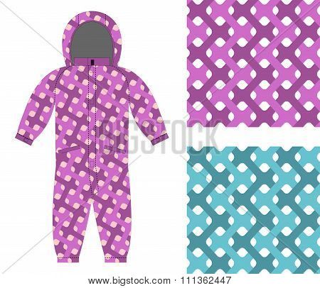 Kids Overalls. Set Of Seamless Pattern Interlocking Web. Children's Clothing Template And Color Text