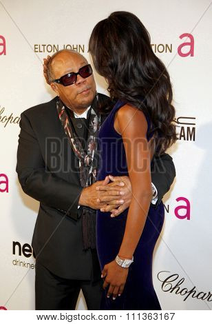 Quincy Jones and Naomi Campbell at the 21st Annual Elton John AIDS Foundation Oscar Party held at the Pacific Design Center in West Hollywood on February 24, 2013.