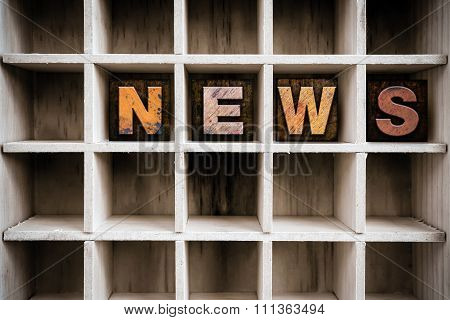 News Concept Wooden Letterpress Type In Drawer