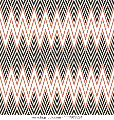 Seamless Pattern Of Black And Red Zigzag On White Background