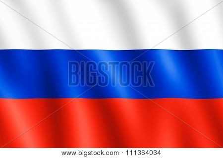 Flag Of Russia Waving In The Wind