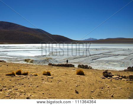 Borax mines in andean lagoon
