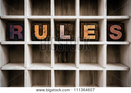 Rules Concept Wooden Letterpress Type In Drawer