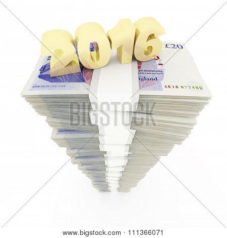 New year 2016 and British pound stack