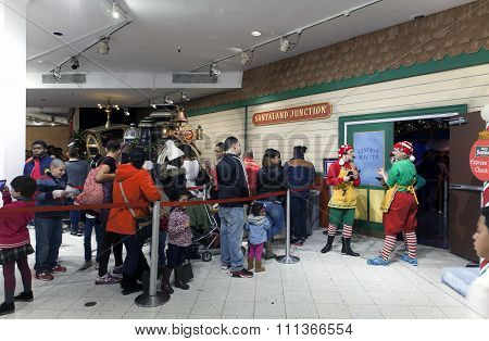 People On Line To Visit Santa Inside Macy's In Nyc