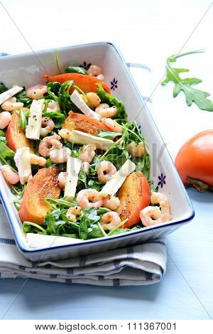 Persimmon and prawn salad